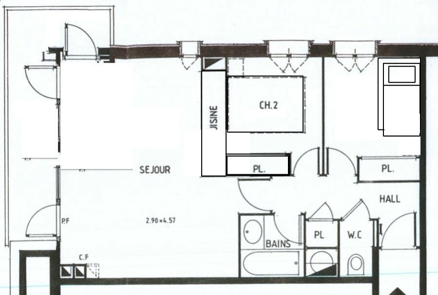 plan appartement 2 chambres 50m2
